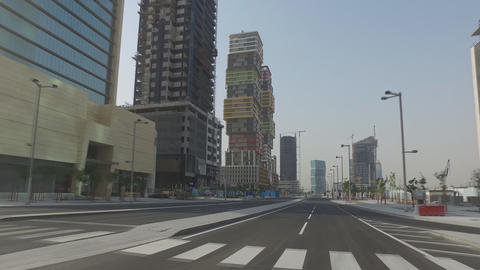Passing through the city street Lusail, the planned city in Qatar Footage