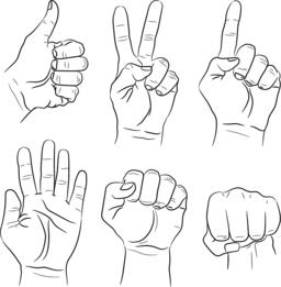 Vector set of hand gestures Vektorgrafik