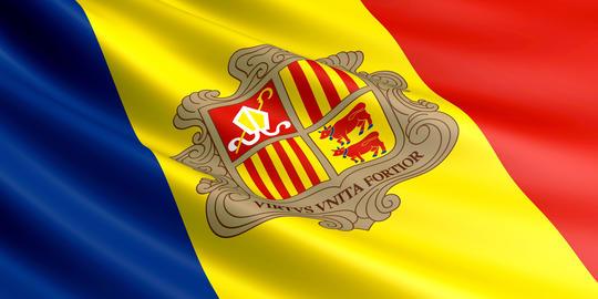 Flag of Andorra fluttering in wind フォト