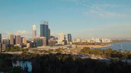 Shadows Creeping Over The Perth City Skyline In The Late Afternoon Footage