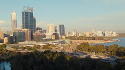Perth City CBD In The Late Afternoon Sunlight Footage