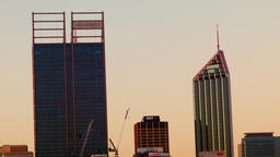 Timelapse of Perth City Skyscrapers in the Fading Dusk Light Footage