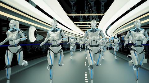 A futuristic humanoid robots, running through a sci-fi tunnel. Loopable CG動画素材