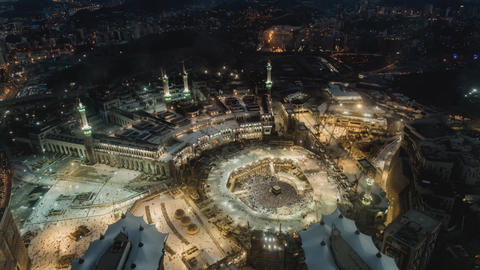 Mecca pilgrimage to the sacred festival (time-lapse) view from above Footage