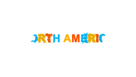 continent name NORTH AMERICA from letters of different colors appears behind Animation
