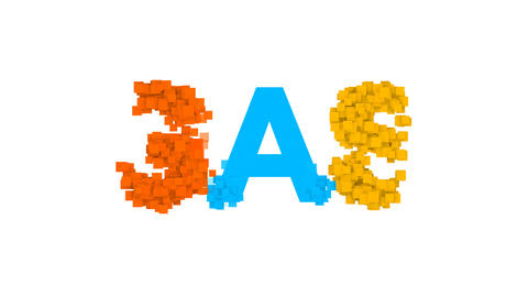 text GAS from letters of different colors appears behind small squares. Then Animation