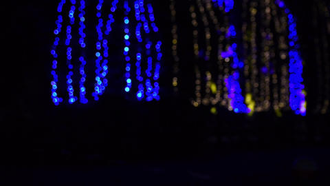 Blue and yellow glowing garlands outside focus on the street, winter night 영상물