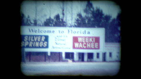 Archival footage of Florida road sign near St. Augustine Live Action