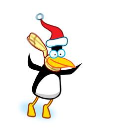 Penguin skiing Animation