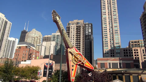 Hard Rock Cafe Guitar Chicago - CHICAGO, ILLINOIS/USA stock footage