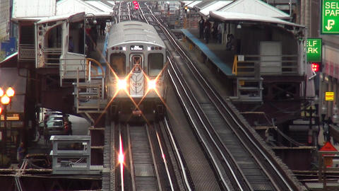 Chicago Subway incoming train - CHICAGO, ILLINOIS/USA Live Action