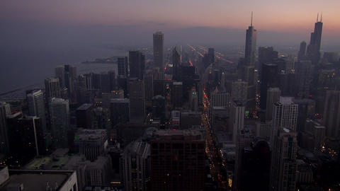 Aerial view City of Chicago in the evening - CHICAGO, ILLINOIS/USA Live Action