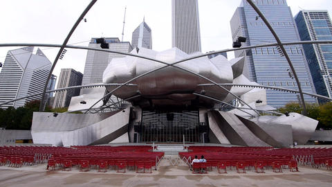 Jay Pritzker Pavilion open-air stage at Chicago Millennium Park - CHICAGO, ILLIN Footage