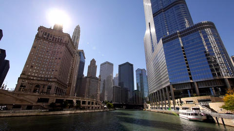 Chicago River Cruise Wide Angle shot - CHICAGO, ILLINOIS/USA Footage