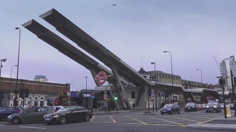 Bus station at Vauxhall Bridge Footage