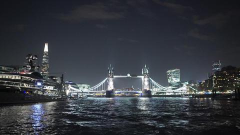 Fantastic shot of Tower Bridge London by night - LONDON, ENGLAND NOVEMBER 20, 20 Footage