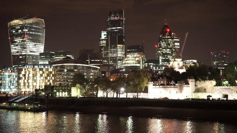 The Tower of London and the modern skyline of the City of London - LONDON, ENGLA Live Action