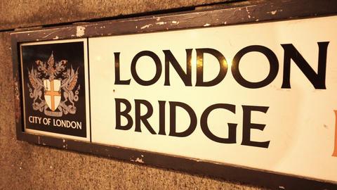 Sign London Bridge - LONDON, ENGLAND NOVEMBER 20, 2014 Live Action