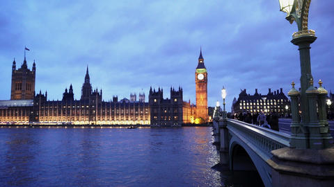 People walking over Westminster Bridge in beautiful London - LONDON, ENGLAND NOV Live Action