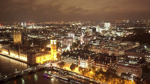 The City of Westminster by night from above amazing aerial view - LONDON, ENGLAN Live Action