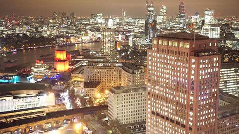 Aerial view of London by night - LONDON, ENGLAND NOVEMBER 20, 2014 Live Action