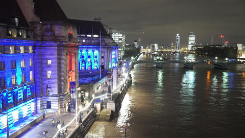 London County Hall by night from above - LONDON, ENGLAND NOVEMBER 20, 2014 Live Action