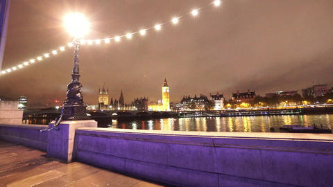 Westminster by night from County Hall London - LONDON, ENGLAND NOVEMBER 20, 2014 Live Action