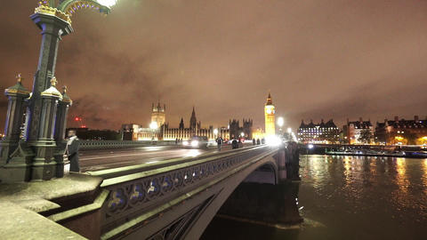 Westminster Bridge and Big Ben by night - LONDON, ENGLAND NOVEMBER 20, 2014 Live Action