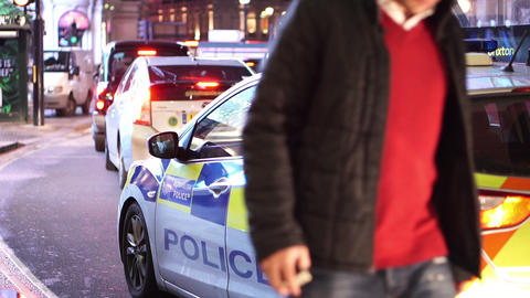 London Police car at night - LONDON, ENGLAND NOVEMBER 20, 2014 Live Action