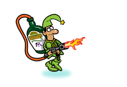 Elf with Brandy fueled flame thrower Animation