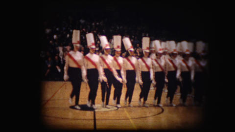 Archival footage of large group of majorettes Live Action