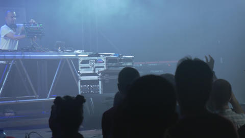 Electronic dance music show indoors Stock Video Footage