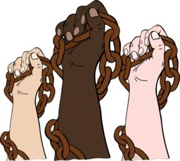 hands of different races hold the iron chain ベクター