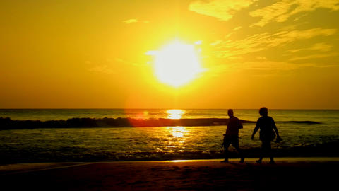 people silhouette couple in middle age Footage
