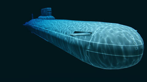 Russian navy Typhoon class submarine at depth Animation