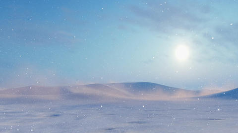 Sun over snow desert landscape at snowstorm Footage