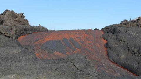 molten lava of the volcano (Kamchatka) Footage