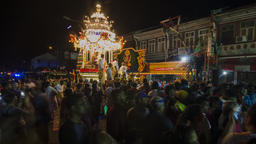 Silver chariot visit 'thanir panthal' stall at during Thaipusam festival Footage