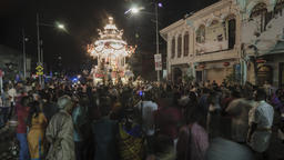 Devotees gather at the street during procession of Silver chariot Footage