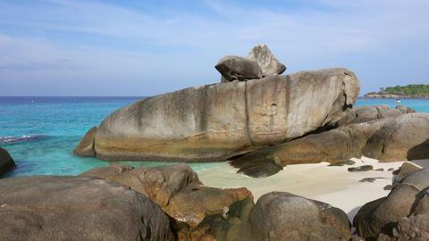 Beach between rocks on Similan islands, Thailand Footage