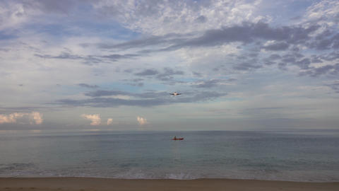 Airplane before landing over beach at morning Footage