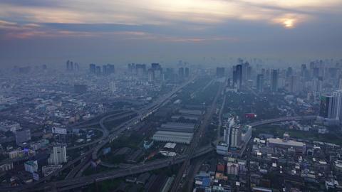 Aerial landscape sunrise in Bangkok, timelapse Footage