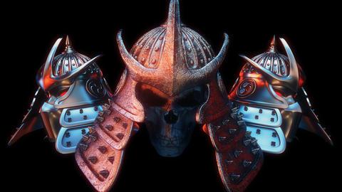 Samurai Head Helmet VJ Loop Animation