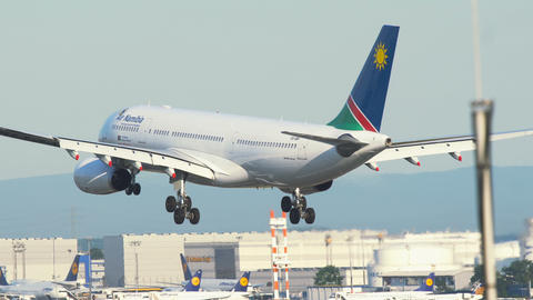 Airbus A330 of Air Namibia landing at Frankfurt Airport Footage