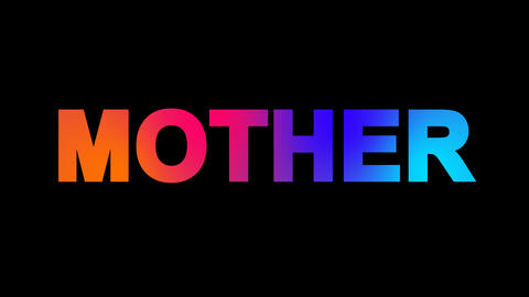text MOTHER multi-colored appear then disappear under the lightning strikes Animation