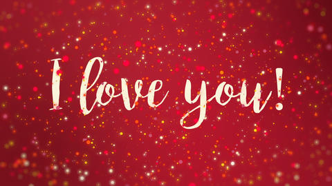 Sparkly red I love you Valentine card CG動画素材