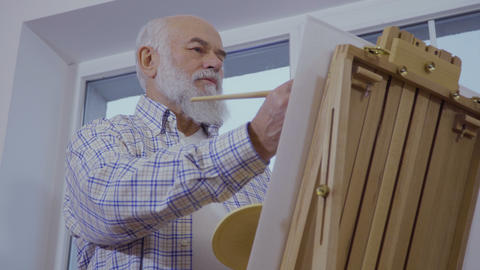 Senior man draws picture on easel standing near the window Footage