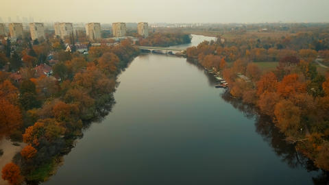Aerial view from drone on the river in the city ビデオ