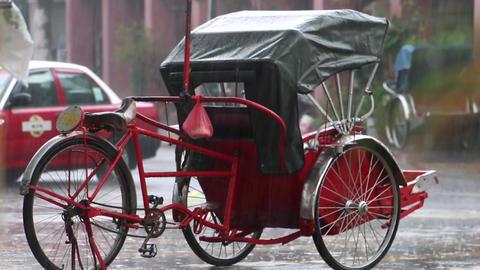 Cycle Rickshaw Under The Rain Live Action