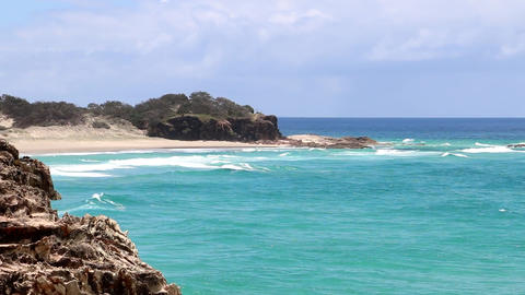 Pacific Ocean Beach On The East Coast Of Australia Footage